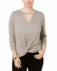 Almost Famous Trendy Plus Size Twisted Keyhole Top Heathered Taupe