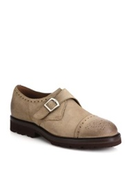 Brunello Cucinelli Suede Monk Strap Shoes Beige