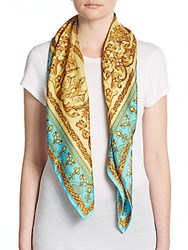 Saks Fifth Avenue Printed Silk Scarf Turquoise