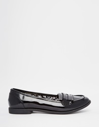 Head Over Heels By Dune Gliss Black Patent Loafer Flat Shoes