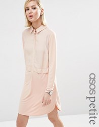 Asos Petite Woven Mix Shirt Dress Nude Pink