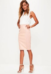 Missguided Pink Faux Leather Suede Panelled Midi Skirt Blush