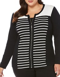 Rafaella Plus Striped Zip Front Cardigan Black White