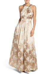 Eliza J Women's Embellished Floral Jacquard Fit And Flare Gown