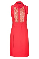 Derek Lam Coral Sleeveless Linen Inset Dress Red
