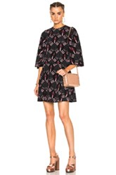 Valentino Heart Print Bell Sleeve Mini Dress In Abstract Black Pink Abstract Black Pink