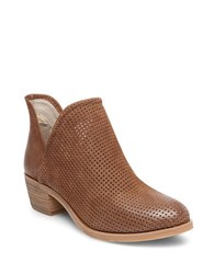 Steve Madden Kolina Mid Heel Perforated Leather Booties Cognac