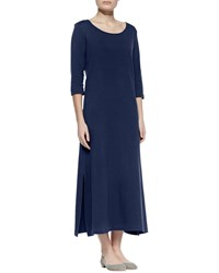 Joan Vass Interlock Easy Maxi Dress Navy