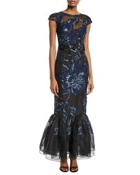 David Meister Cap Sleeve Embroidered Tulip Hem Gown Navy