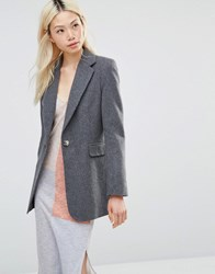 Helene Berman Longline Blazer In Charcoal With Green Charcoal Grey
