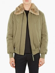 Yves Salomon Khaki Fur Trimmed Aviator Jacket
