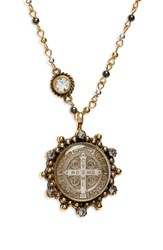 Virgins Saints And Angels San Benito Magdalena Necklace Gold W Multi Metal Clear