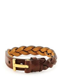 Tom Ford Nashville Men's Braided Leather Bracelet Rust Brown