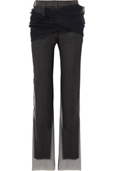 Y Project Twisted Tulle And Twill Straight Leg Pants Dark Gray Gbp