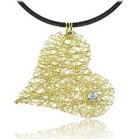 Orlando Orlandini Diamond 18K Yellow Gold Heart Pendant W Lace