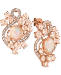 Le Vian Crazy Collection Peach Morganite 3 1 5 Ct. T.W. Opal 2 3 10 Ct. T.W. And White Topaz 9 10 Ct. T.W. Stud Earrings In 14K Rose Gold Pink
