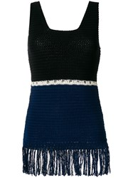 Zeus Dione Fringed Colour Block Knitted Top Blue
