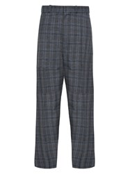 Vetements Oversized Wide Leg Checked Trousers Grey