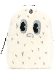 Moncler Character Print Textured Backpack White