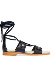 Rag And Bone Evelyn Suede Trimmed Leather Sandals Navy