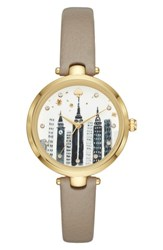 Kate Spade 'S New York Holland Skyline Leather Strap Watch 34Mm Grey Black Gold