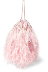 Attico Feather Trimmed Beaded Satin Pouch Pink