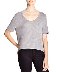 T By Alexander Wang Classic Cropped Tee With Pocket Heather Grey