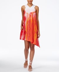 Rachel Roy Asymmetrical Shift Dress Only At Macy's Coral Combo