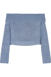 Tibi Neo Cropped Knitted Silk Top Sky Blue