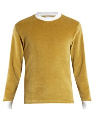 Fanmail Contrast Rib Velour Sweatshirt Gold