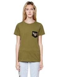 Mrandmrs Italy Patch Embroidered Cotton Jersey T Shirt