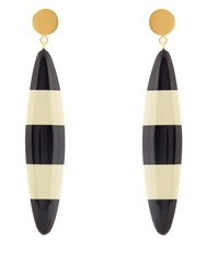 Marni Striped Long Drop Earrings Black White