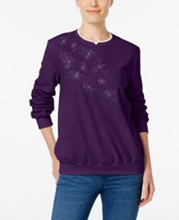 Alfred Dunner Embroidered Fleece Sweater Amthyst
