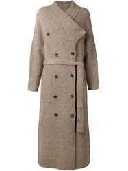 Soyer Shawl Neck Belted Coat Brown