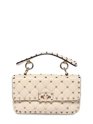 Valentino Garavani Small Spike Leather Shoulder Bag Ivory