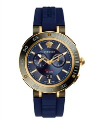 Versace V Extreme Pro Multifunction Dual Time Watch With Blue Silicone Strap