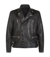 Allsaints Skept Leather Biker Jacket Male Black