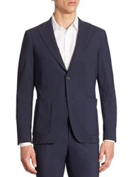 Saks Fifth Avenue X Traiano Stretch Single Breasted Blazer Blue