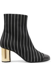 Marco De Vincenzo Patent Leather Trimmed Pinstriped Wool Ankle Boots Black Usd
