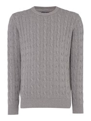Howick Men's Sanford Cable Crew Jumper Grey