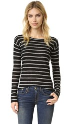 R 13 Knit Cashmere Top Black White Stripe