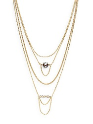 Saks Fifth Avenue Multi Chain And Bead Necklace Gold