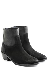 Zadig And Voltaire Two Tone Suede Ankle Boots Black