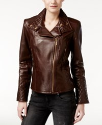 Calvin Klein Leather Quilted Moto Jacket Wine