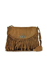 Zadig And Voltaire Vagabond Hippie Tan Suede Fringe Messenger Bag