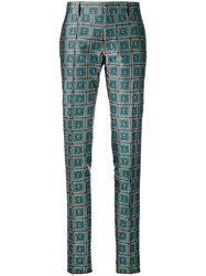 Bally Geometric Print Trousers Green