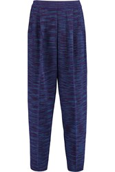 M Missoni Cropped Wool Blend Tapered Pants Purple