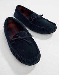 Totes Check Lined Cord Moccasin Slippers Grey