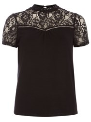 Dorothy Perkins Lace Detail Sleeveless Jersey Top Black