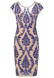 Adrianna Papell Cocktail Dress Party Dress Champagne Royal Blue Off White
